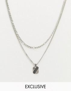 Серебристое ожерелье в несколько рядов Reclaimed Vintage inspired-Серебряный