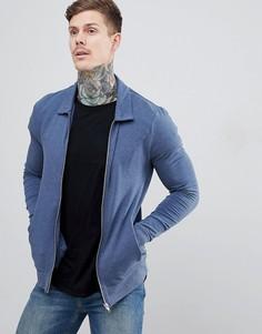Синяя обтягивающая куртка Харрингтон из меланжевого трикотажа ASOS DESIGN organic-Темно-синий