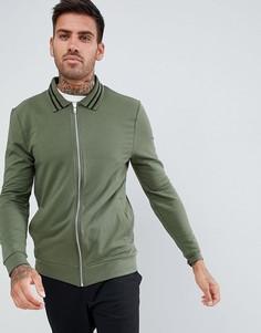 Трикотажная обтягивающая куртка Харрингтон цвета хаки с отделкой ASOS DESIGN organic-Зеленый
