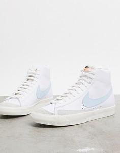 Бело-голубые кроссовки Nike Blazer Mid 77 Vintage-Белый