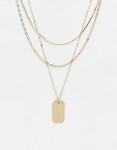 Золотистое ожерелье в несколько рядов с армейским жетоном River Island-Золотой
