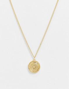 Золотистое ожерелье с подвеской-дискомDesignB-Золотой