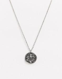 Серебристое ожерелье с подвеской-монетойTopman-Серебряный