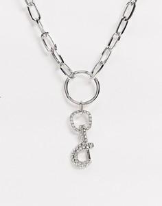 Ожерелье с овальными звеньями и отделкой стразамиUncommon Souls-Серебряный