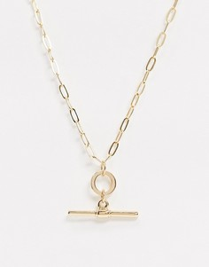 Золотистое ожерелье с Т-образным дизайномTopman-Золотой