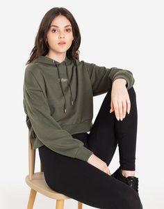Укороченное худи хаки с надписью Gloria Jeans