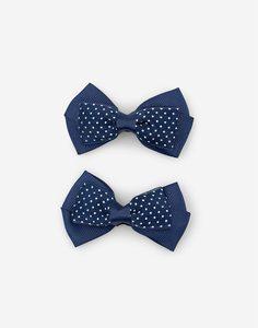 Темно-синие заколки-бантики для волос 2 шт. Gloria Jeans