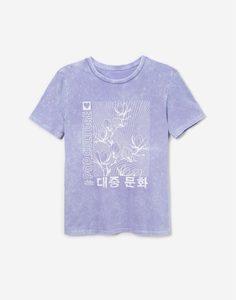 Сиреневая футболка тай-дай с принтом для девочки Gloria Jeans