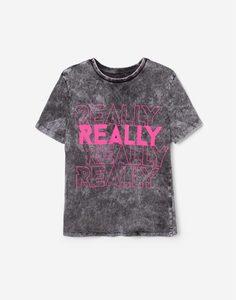 Серая футболка тай-дай с надписями для девочки Gloria Jeans