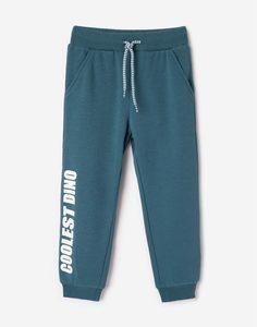 Зелёные спортивные брюки с надписью для мальчика Gloria Jeans