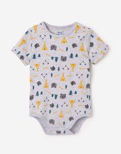 Серое боди-футболка с принтом для малыша Gloria Jeans