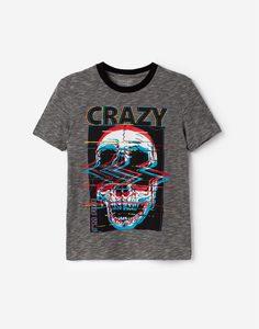 Серая футболка с черепом для мальчика Gloria Jeans