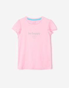 Розовая футболка с блестящей надписью для девочки Gloria Jeans