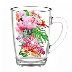 Кружка стеклянная Декостек Фламинго в тропиках 334-Д, 300 мл