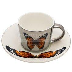 Чайная пара из фарфора Бабочка ПС0028-25, 230 мл