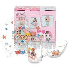Набор детской посуды из стекла L.O.L. Surprise 279208, 3 предмета (кружка 250 мл, тарелка 200 мм, салатник 125 мм)