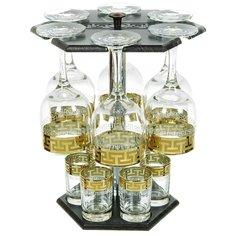 Набор для спиртного Promsiz, 12 предметов (бокал 6 шт, стопка 60 мл 6 шт) на барной стойке, Греческий узор EAV03-163/837-BS/S