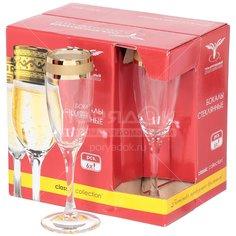 Бокал для шампанского Гусь-Хрустальный Стекольный завод Ампир EAV79-1687, 6 шт, 170 мл