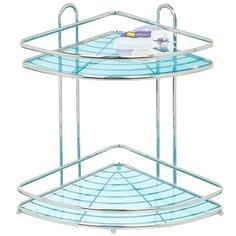 Полка для ванной угловая Y3-763 I.K двухъярусная хром, 23х33 см