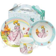 Набор детской посуды из керамики Daniks Принцесса, 3 предмета (кружка 230 мл, тарелка 180 мм, салатник 150 мм)