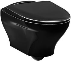 Подвесной безободковый унитаз с сиденьем микролифт черный Gustavsberg Estetic C+ GB1183300S0030