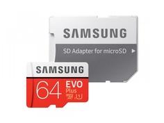 Карта памяти 64Gb - Samsung - Micro Secure Digital XC EVO Plus UHS-I U1 Class 10 MB-MC64HA/RU с переходником под SD