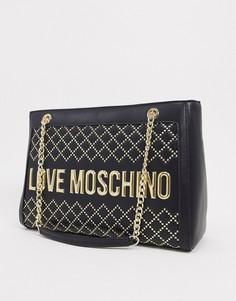 Черная сумка-тоут с отделкой заклепками и логотипомLove Moschino-Черный