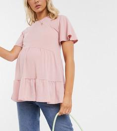 Светло-розовая футболка с ярусной баской New Look Maternity-Розовый