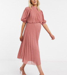 Двухслойное платье миди с плиссировкой ASOS DESIGN Maternity-Розовый
