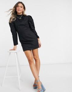 Черное хлопковое платье мини А-силуэта с пышными рукавами Influence-Черный