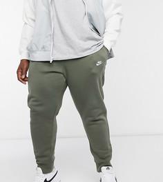 Джоггеры цвета хаки с манжетами Nike Plus Club-Зеленый
