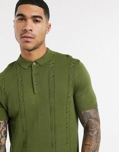 Трикотажное поло цвета хаки с косами New Look-Зеленый