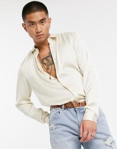 Светло-бежевая атласная рубашка классического кроя ASOS DESIGN-Бежевый