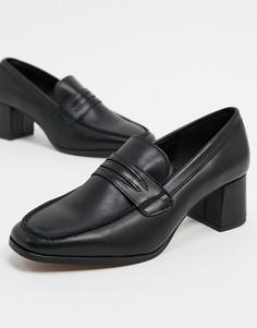 Черные кожаные лоферы на каблуке с квадратным носом Depp-Черный