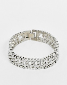 Серебристый браслет из разных цепочек DesignB-Серебряный