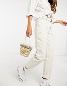 Светло-бежевые джинсы карго с завышеннойталией иремнем French Connection-Светло-коричневый