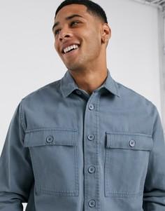 Синяя рубашка с двумя карманами New Look-Синий