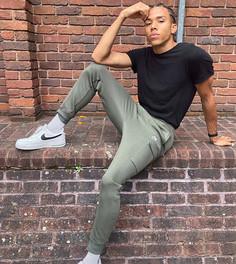 Джоггеры карго цвета хаки с манжетами Nike Tall Club-Зеленый