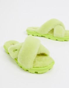 Слиперы с перекрестными ремешками лаймового цвета UGG Fuzzette-Зеленый