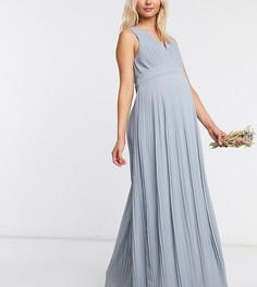 Голубое плиссированное платье макси без рукавов TFNC Maternity bridesmaid-Синий