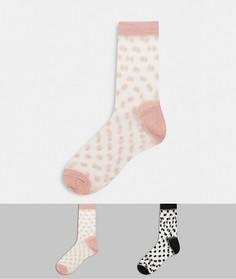 Набор из 2 пар носков до щиколотки в горошек Hunkemoller-Мульти