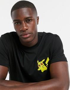 Черная свободная футболка с вышивкой ASOS DESIGN-Черный