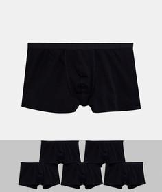 Набор из 5 черных боксеров-брифов из органического хлопка ASOS DESIGN Plus - Скидка-Черный