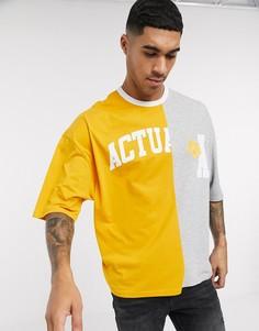 Свободная футболка в стиле колор блок с аппликациейлоготипаASOSActual-Желтый