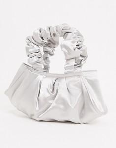 Серебристый клатч с присборенной ручкой ASOS DESIGN-Серебряный