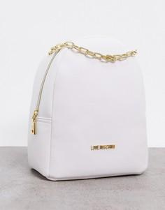 Белый рюкзак с цепочкой Love Moschino