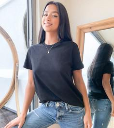 Черная футболка из органического хлопка с круглым вырезом ASOS DESIGN Petite ultimate-Черный