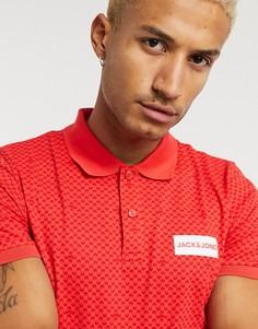 Поло красного цвета с принтом и логотипом Jack & Jones-Красный