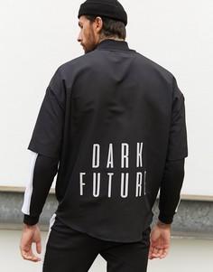 Футболка в стиле oversized с логотипом и асимметричным подолом ASOS Dark Future-Черный