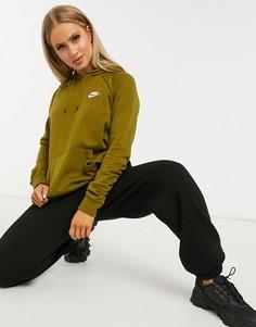 Зеленый худи цвета хаки Nike essentials
